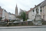 Scene Bruges With Our Lady Church
