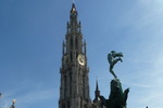 Brabo and Tower on Markt. Antwerp. Belgium