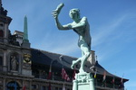 Brabo Fountain With Townhall. Antwerp.Belgium